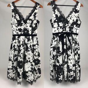 Teri Jon Floral Black & White dress w/ velvet tie